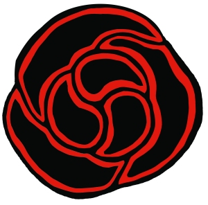 Spiral blood red rose