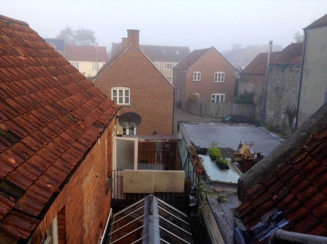 The rooftops of Glastonbury, from an upper room of the hostel there.