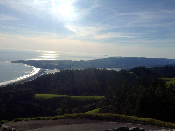 Sun over Bolinas from the top of Mt. Tamalpais
