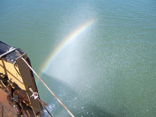 A rainbow created by the washdown water in the sun