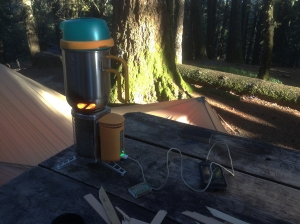 Stove and electronics charger in one
